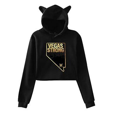 Women s Vegas Strong Cute Cat Ear Snug Hoodie Sweatshirts Midriff-Baring  Hoody Sweater at Amazon Women s Clothing store  06e8badac6