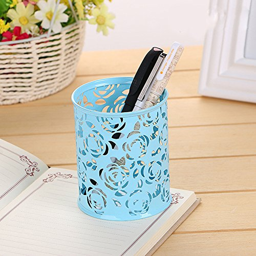 Comfspo Plastic Carved Pencil Holder Rose Flower Pattern Cylinder Pen Pencil Pot Holder Container Organizer Multi Colors for Choice
