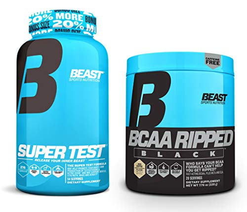 Beast Sports Nutrition Super Test 216-count and BCAA Ripped Black Bundle: Testosterone Booster with Nitric Oxide Bundled with The Fast-Acting BCAA Recovery Matrix (Iced Coffee)