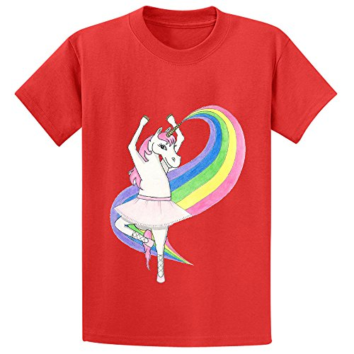 Price comparison product image Snowl Rainbow Unicorn Dancing Kid's Crew Neck Short Sleeve Shirts Red