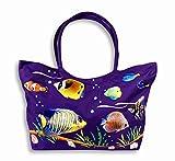 "Waterproof Jumbo Purple Canvas Beach Bag Tropical Fish Design Zipper Closure 24 x 15 x 6"""