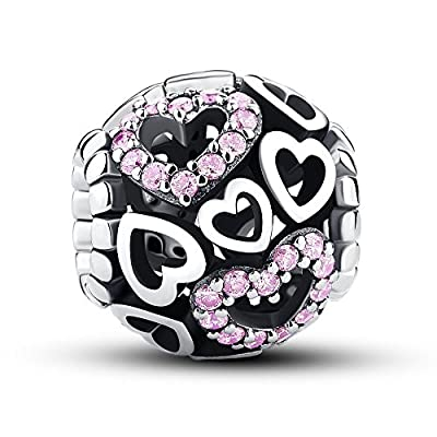 Glamulet 925 Sterling Silver Pink Crystal Hearts Pendant Bead Charm Fits Bracelet, Ideal for Lover from Glamulet