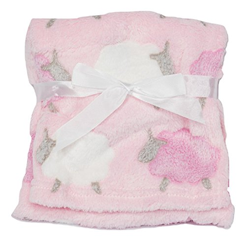 Light & Cozy Plush Blanket For Baby Boys and Baby Girls (Pink Lamb)