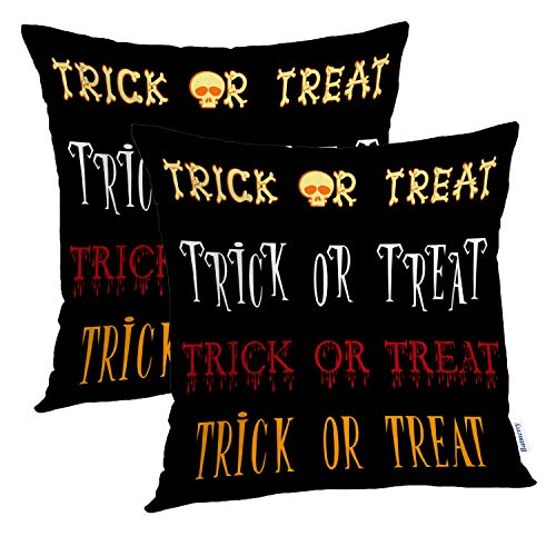 Batmerry Halloween Pillow Covers 18x18 inch Set of 2, Trick Treat Title Cartoon Font Black Word Halloween Skeleton Throw Pillows Covers Sofa Cushion Cover Pillowcase Home Gift