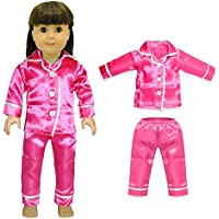 Doll Clothes - Pink Satin PJs Pajama Set Outfit Fits American Girl Doll, My Life Doll, Our Generation and 18 inch dolls
