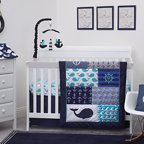 - Nautica Kids Set Sail Nautical/Anchor/Whale 4 Piece Nursery Crib Bedding Set, Navy, Aqua, Grey, White