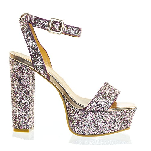 Glitter Block Tacco Piattaforma Open Toe Strappy Sera Party Dress Sandalo Arrossire Glitter Oro