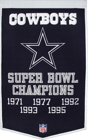 Dallas Cowboys Embroidered 36x24 Wool Banner ()