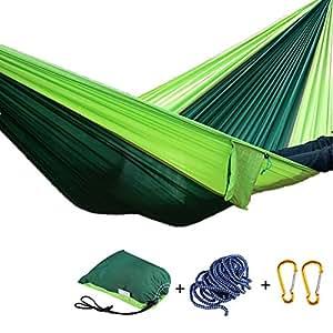 'Swing Hamaca Set, Outdoor Trekking 1personas camping hamaca, fácil de transportar transpirable de secado rápido 90× 35carga máxima 300kg (fruta verde + Verde oscuro)