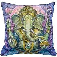 Hindu Elephant Ganesha Spiritual Art Decorative Pillow Case Cushion Cover Sofa Bedroom Lumbar Throw Pillow Case 18x18 inches