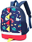 Kid Backpack Boy Preschool with Chest Strap Dinosaur Blue Kindergarten Leash