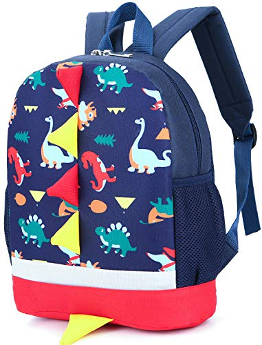 - Kid Backpack Boy Preschool with Strap Dinosaur Blue Kindergarten Leash Bookbag