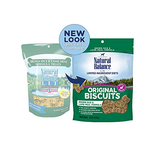 Natural Balance L.I.T. Limited Ingredient Treats Small Breed Dog Treats, Brown Rice & Lamb Meal Formula, 8 Ounce Pouch
