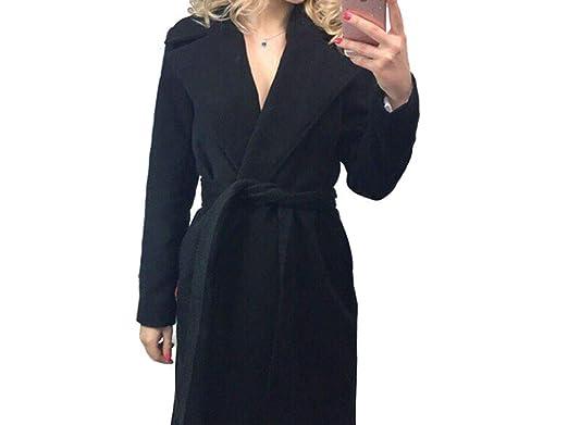 Amazon.com: Elegante abrigo largo para mujer, solapa, 2 ...