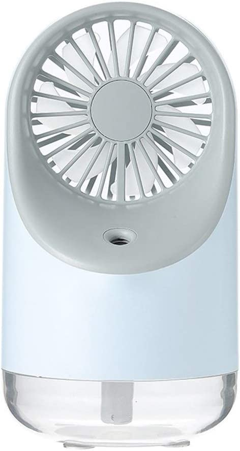 Air Cooler Summer Small Bedside Fan USB Charging Desktop Fan Night Light Low Noise Fan Color : Blue