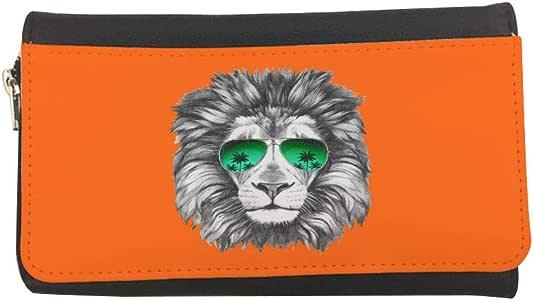 محفظة مصنوعة من الجلد بتصميم اسد يرتدي نظارة