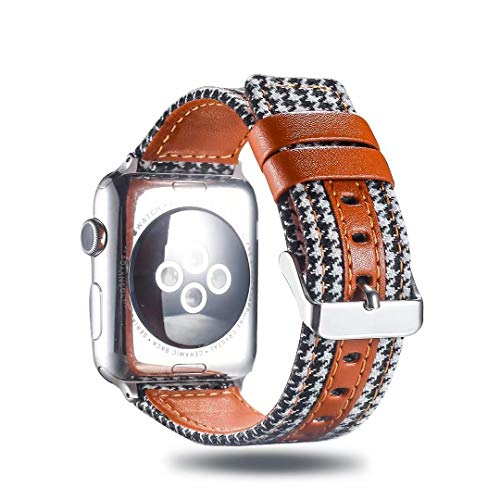 Genuine Leather/Cotton Fabric Watch Band Strap Stylish Accessory Wristband Bracelet Compatible with 40mm Apple Watch Series 4, 38mm Apple Watch Series 3/2/1 (Color 1)