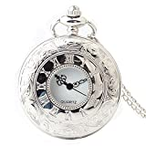Shirleyle Hollow Vintage Quartz Pocket Watch Men Women Students Retro Long Chain Watch With White Dial