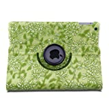 TOPCHANCES Slim Mordern Smart Cover Case for the iPad Air, iPad 5 with Auto Sleep/Wake Function Built in Stand-Green Embossed Flowerss Case