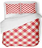 Emvency 3 Piece Duvet Cover Set Breathable Brushed Microfiber Fabric White Diagonal Red Table with Plaid Gingham Picnic Pattern Abstract Checkered Bedding Set with 2 Pillow Covers Twin Size