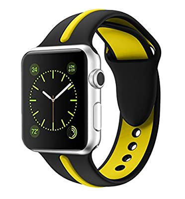 Soft Silicone Watch Band for Apple iWatch Sports/Editions Series 2/Series 1 Sport Style Replacement Watchband Strap Stripe Contrast Color Wristbands