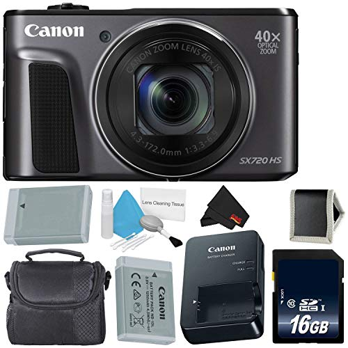 Canon PowerShot SX720 HS Digital Camera 1070C001 International Model + NB-13L Replacement Lithium Ion Battery + 16GB Memory Card + Carrying Case – Bundle