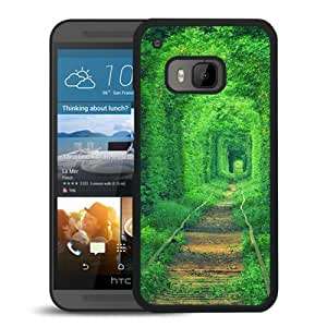 Fashionable Custom Designed Cover Case For HTC ONE M9 With Green Rail Road Tunnel Black Phone Case