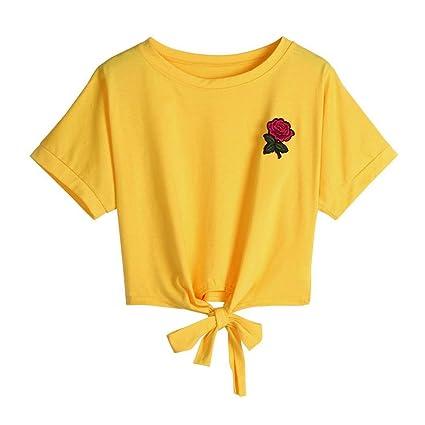 Manga corta,Camiseta mujer con Impresión de flores, Ba Zha Hei Camisetas y Camisas