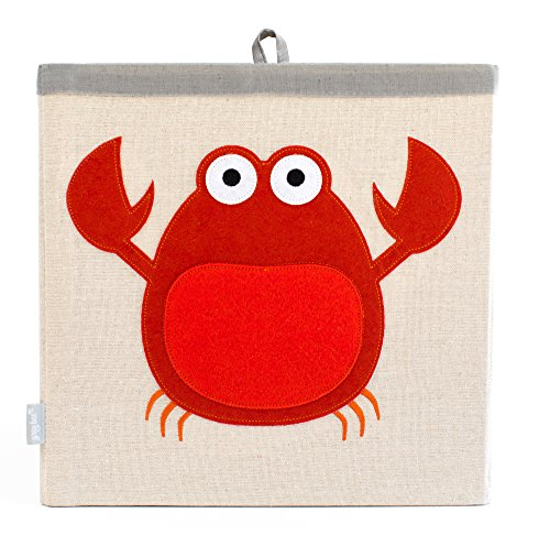 Large Collapsible Cube Storage Bin :: 100% Jute Canvas Toy Basket for Baby Items, Kids Clothes & Much More, 13 x 13 Square, with Adorable Felt Animal Design, Crab, Red by Grey Bee