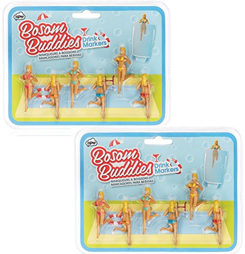 NPW Bosom Buddies Drinking Gals Drink and Wine Glass Markers (2 Pack) by NPW (Image #2)