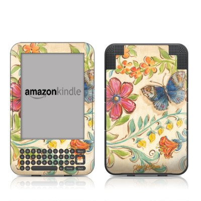 (MyGift Garden Scroll Design Protective Decal Skin Sticker for Amazon Kindle Keyboard/Keyboard 3G (3rd Gen) E-Book Reader - High Gloss Coating)