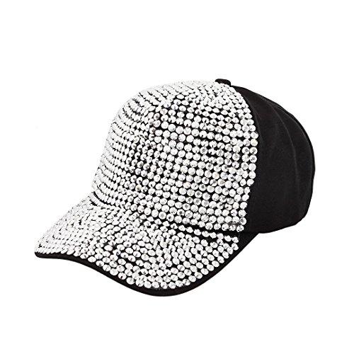 Surkat Unisex Fully Studded Rhinestone Adjustable Baseball Cap Snapback Baseball Hat Hip Pop Dance Cap(Silver) ()