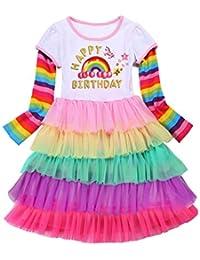 Girls Party Birthday Princess Unicorn Rainbow Dress Swing Clothes