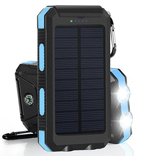 Solar Power Bank 12000mAh Cargador Solar portátil Dual Cargador de batería USB batería externa con linterna brújula...