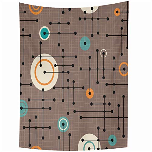 (Ahawoso Tapestry 60x90 Inch Abstract Brown Retro Pattern Lines Circles Ornamental Mod Green Circuit Connected Dots Festive Wall Hanging Home Decor for Living Room Bedroom Dorm)