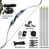 D&Q Archery Bowfishing Kit 30 35 40 45 50 55 60 lb Takedown Recurve Bow Longbow Complete Set for Outdoor Hunting Shooting Fishing with Fishing Seat Arrows & Reels Right Handed Black Camouflage Purple For Sale