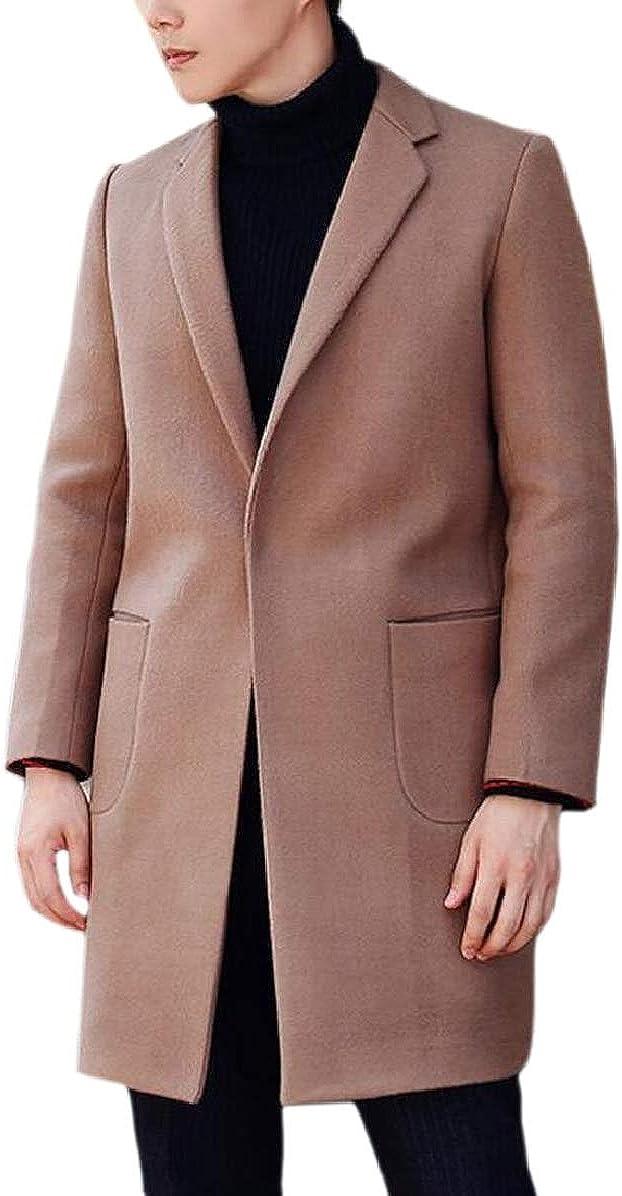 ONTBYB Mens Slim Winter Autumn Outwear Pea Coat Trench Lapel Curved-Hem Overcoat