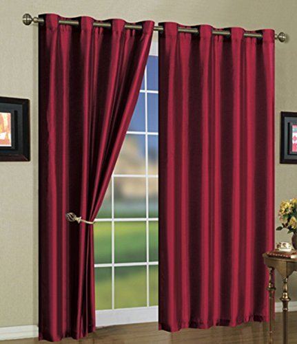 (3-Pack: Curtain Panels with Grommets - Assorted Colors (BURGUNDY))