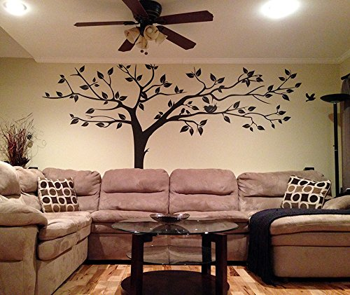 PopDecors - Super Big Tree Brown-133inch W - Beautiful Tree Wall Decals for Kids Rooms Teen Girls Boys Wallpaper Murals Sticker Wall Stickers Nursery Decor Nursery Decals PT-0129-DKB by Pop Decors