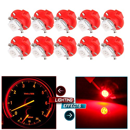 cciyu 10 Pack T5 B8.4D 5050 LED SMD Red Dash Auto Dash Gauge Instrument Panel Light Bulb/BMW E32 E34 E36 Dash Gauge Instrument LED For Dashboard Gauge Indicator Instrument (Bmw Gauge)