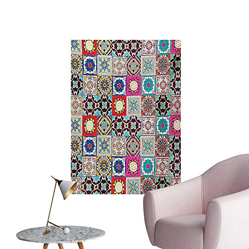 Anzhutwelve Moroccan Photographic Wallpaper Collection of Ceramic Mosaic Tiles and Figures with Mathematical Geometric ArtfulMulticolor W20 xL28 Poster Print