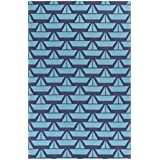 5\' x 7.5\' Serene Sails Stone Navy, Ice Blue, and Pool Blue Hand Hooked Wool  Area Throw Rug