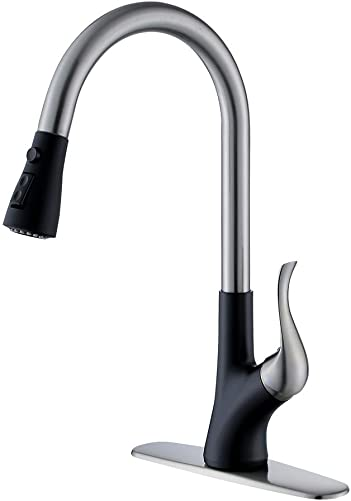 Stainless Steel and Matte Black Kitchen Faucet with Pull Down Sprayer,G BattisFlo Commercial Kitchen Faucets with Escutcheon