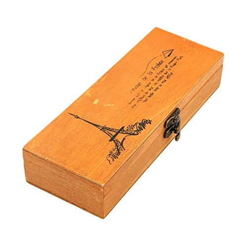 (Wood Pencil Pen Box, Eiffel Tower Wooden Art Drawers Brush Storage Boxes With Locking Clasp, Artist Tool Small Lock Case, Decorations Craft Trinket Container Organizer, Card Collection, Jewelry Holder)