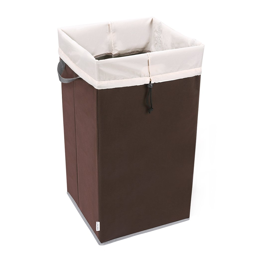 LANGRIA Foldable Laundry Hamper with Large Removable Mesh Laundry Bag, Dirty Clothes Organizer for Bathroom Bedroom Utility Room (Brown)