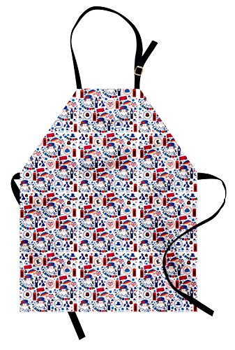 (Ambesonne London Apron, Pattern with London Symbols Queen Elizabeth Umbrella Tea Party Map Travel Theme, Unisex Kitchen Bib Apron with Adjustable Neck for Cooking Baking Gardening, Multicolor)