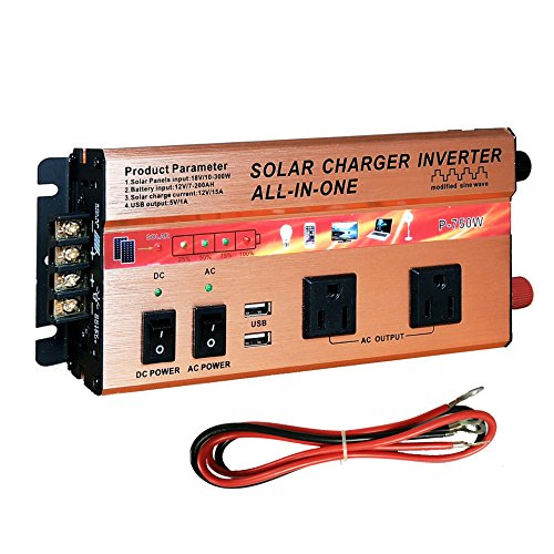 750W Solar Power Inverter Solar Panel Controller All - in - One Off-Grid Solar System 18V to AC 110V DC 12V USB 5V Power Adapter for Phones Rvs Tools & Outdoor/Indoor Electrical Devices