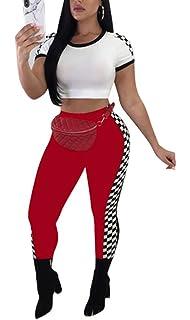 7847107ac994 WearFun Womens Active Sport Short Sleeve Zipper Biker Grid Mock Neck Bodycon  Jumpsuit Rompers