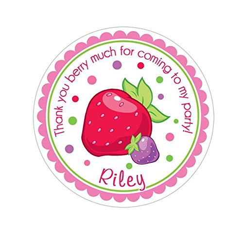 Personalized Customized Birthday Party Favor Thank You Stickers - Strawberry Shortcake - Round Labels - Choose Your Size