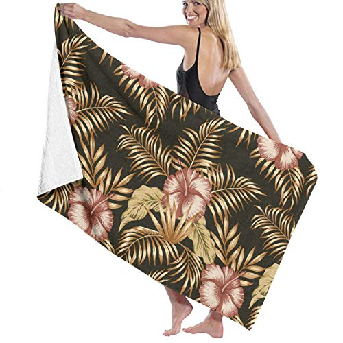 SARA NELL Microfiber Beach Towel Tropical Botanical Composition Hibiscus Gold Palm Bath Towel Beach Blanket Quick Dry Towel for Travel Swim Pool Yoga Camping Gym Sport -30